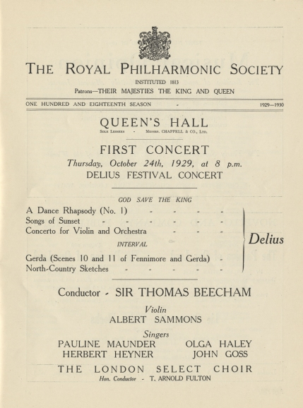 Programme for the Royal Philharmonic Society concert at the Queen's Hall, 24 October 1929.  This was the penultimate concert in the Delius Festival organised by Sir Thomas Beecham and attended by the composer on his last visit to the UK.