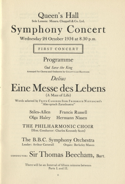 Programme for a BBC Symphony Concert at the Queen's Hall,  24 October 1934. This was one of several commemorative concerts conducted by Beecham in the months following the composer's death.