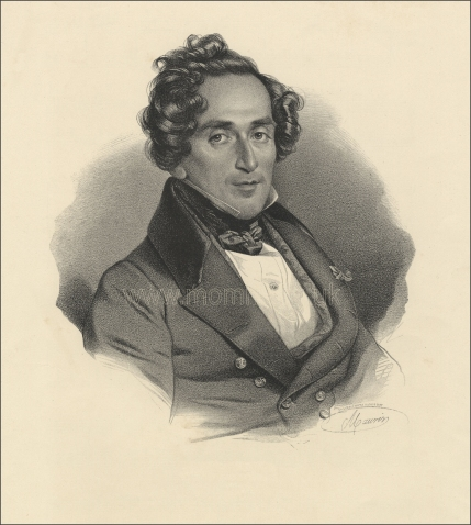 Giacomo Meyerbeer. Lithograph after A. Maurin.