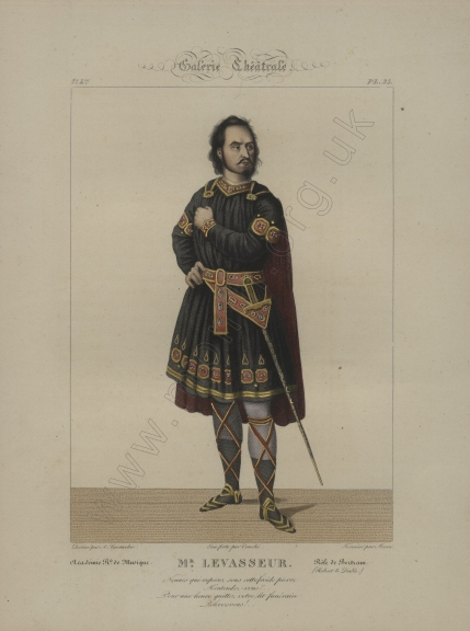 Nicolas Levasseur as Bertram. Engraving by Mecou after A. Lacauchie. From Galérie Théâtrale.
