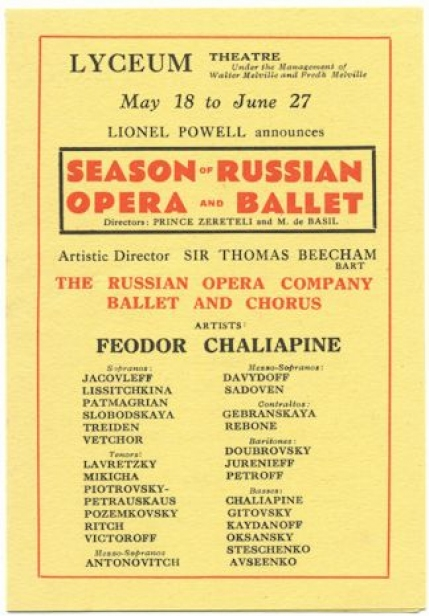 Flyer for Sir Thomas Beecham's Russian Opera Season, London, [1931]. The season opened with the British premiere of Dargomïzhsky's Rusalka, starring Chaliapin as the Miller.