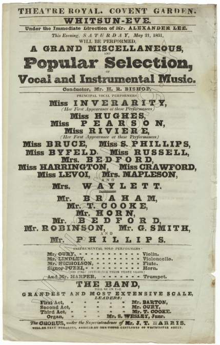 Concert bill for A Grand Miscellaneous and  Popular Selection of Vocal and Instrumental Music at the Theatre Royal, Covent Garden, 21 May 1831.