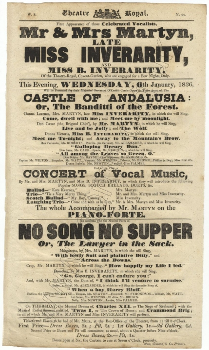 Bill for a performance of The Castle of Andalusia, a Concert of Vocal Music and No Song No Supper at the Theatre Royal, Glasgow, 6 January 1836 with Mrs Martyn as Donna Lorenza, (etc.)