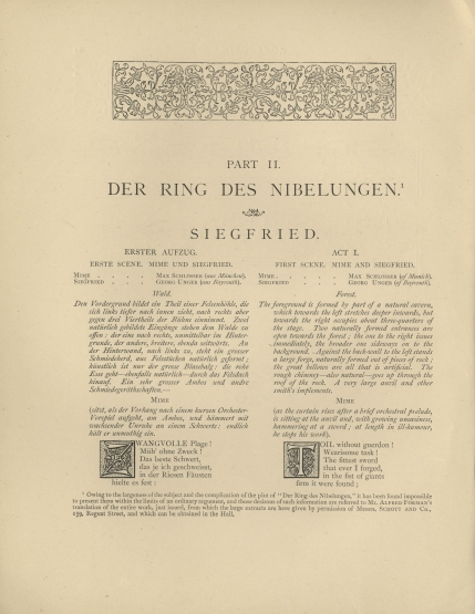 Page introducing the Siegfried selection in the 4th Concert, 14 May 1877.