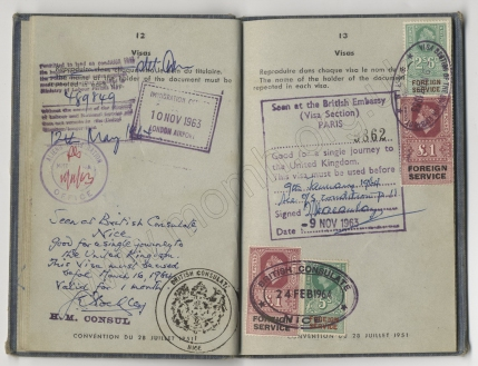 Pages 12 - 13 of the preceding, with stamps from November 1963 to May 1964.