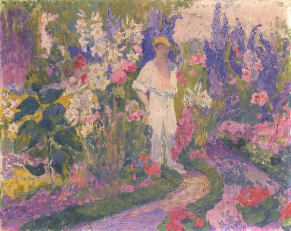 Delius in his Garden at Grez-sur-Loing. Oil on canvas by Jelka Rosen, early 1900s. Harrison Sisters Trust, on loan to the Museum of Music History.  Delius married Rosen in 1903.