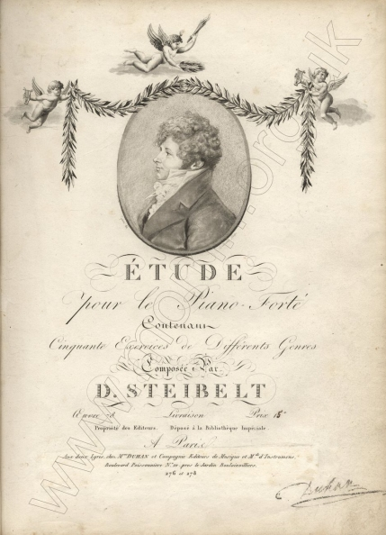 Étude ... Contenant Cinquante Exercices de Différents Genres, Op.78. Paris, [1805].  Described by Czerny as 'a valuable work, and worthy to follow Cramer's', these studies remained standard teaching material until the end of the nineteenth century.