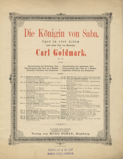Die Königin von Saba, Op.27. Hamburg, [1877].  The score was first published two years after the opera's premiere.