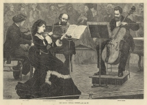Norman-Neruda leading a quartet at the Popular Concerts. The other players are Louis Ries, Ludwig Straus and Alfredo Piatti. Engraving from the Illustrated London News, 2 March 1872.