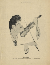 Caricature of Kreisler by Manuel Quiroga. From Le Monde musical, 1910.