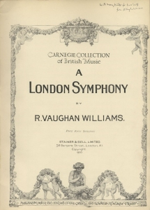 Vaughan Williams : A London Symphony. First edition of the full score.  London, 1920.  Inscribed by the composer to Rupert Erlebach.  Royal College of Music, London.