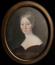 Mary Postans. Miniature inscribed on the back to Alfred Shaw and dated Naples March 1834.