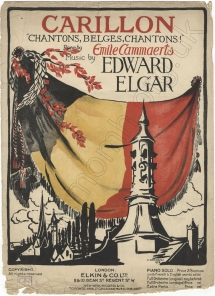Elgar : Carillon, Op.75. First separate edition of the piano score with cover design by Darcy Braddell. London, 1914.