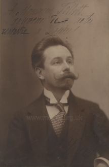 Alexander Skryabin.  Photograph inscribed to Pedro Tillett during the composer's London visit, 1914.