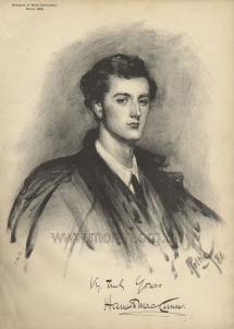 Hamish MacCunn.  After a charcoal drawing by John Pettie, 1886.  Pettie produced a number of portraits of MacCunn, who became his son-in-law in 1889.