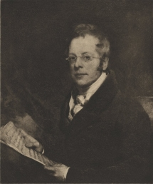 Photogravure after the portrait by William Bradley, 1829.  Frontispiece to Leaves from the Journals of Sir George Smart, ed. H. Bertram Cox and C. L. E. Cox (London, 1907).