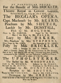 "Playbill for the performance ""For the Benefit of Miss Brickler"" at the Theatre Royal, Covent Garden, 16 May 1767.  Image reproduced with permission from the Royal Academy of Music, London.."