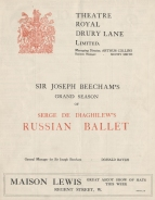 Le Rossignol. Programme of the first English performance, Theatre Royal, Drury Lane, 18 June 1914. Royal College of Music, London.