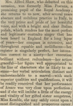 Review of Mrs Alfred Shaw's debut in Semiramide.  The Musical World, 6 October 1842.