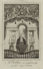 Mr Dibdin as performing at the Sans Souci.  Anonymous engraving. [London, c.1800.]
