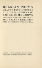 Title page of Emile Cammaerts : Belgian Poems. London, 1915.