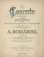 First edition of Skryabin's Piano Concerto, Op.20. Leipzig, 1898.