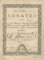 Trois Sonates, Op.2. Paris, [1797?].  First published in Munich in 1788 and in Paris c.1790.