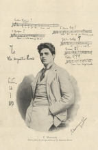 Pietro Mascagni.    His two operas Cavalleria Rusticana and L'Amico Fritz, given in the 1892 Harris seasons proved a great success. On 15 July of the following year he conducted a command performance for Queen Victoria at Windsor which included both operas.  Illustration from an article 'Sir Augustus Harris on Opera' in The Strand Musical Magazine, August, 1895.