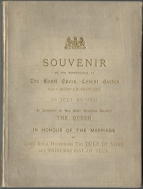 Souvenir Libretto-Programme for Roméo et Juliette, the Royal Wedding Gala at Covent Garden, 4 July 1893. The marriage took place on 6 July and a year later there was a command performance at Windsor to celebrate their anniversary. Gounod's Philémon et Baucis and Massenet's La Navarraise were given.