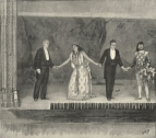 The Call before the Curtain showing from left to right the librettist, Marie Duma, the composer and Diarmid. The Graphic, 30 October 1897.