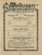 Flyer for the performance at the Vienna Volksoper, 26 April 1917.  The first night of this production which featured Bittner's wife Die Frau was on 17 April.