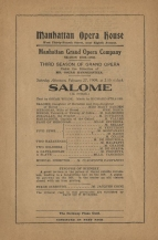 Programme for a performance of Richard Strauss's Salome at the Manhattan Opera House, 27 February 1909.