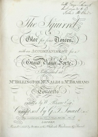 The Squirrel, A Glee for four Voices. London, [1807?]. Royal College of Music, London.