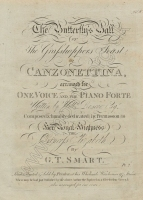 The Butterfly's Ball or the Grasshopper's Feast arranged for voice and piano, A Canzonettina. London, [1807?].