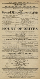 Playbill for the Oratorio Concert at the Theatre Royal, Drury Lane, 23 March 1814.
