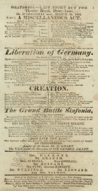 Playbill for the Oratorio Concert at the Theatre Royal, Drury Lane, 18 March 1826.