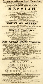 Playbill for the Oratorio Concert at the Theatre Royal, Drury Lane, 30 January 1817.