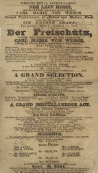 Playbill for a concert at the Theatre Royal, Covent Garden, 17 March, 1826. Weber's fourth Covent Garden concert featuring  another Freischütz selection and the Jubilee Overture.