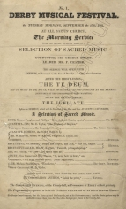 Derby Musical Festival. Programme of the morning concert at All Saints' Church, 27 September 1831.  It was at this festival that the 54-year old Smart met his future wife Frances Margaret Hope, a clergyman's daughter.  They married the following year.