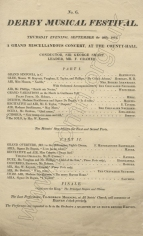 Derby Musical Festival. Programme of the evening concert at the County Hall, 29 September 1831.