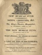 New Musical Fund. Programme for the Annual Concert at the King's Theatre, 16 April 1818.
