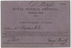 Royal Musical Festival. Performer's Ticket for Mr Humble (double bass) for entry into the Abbey.  He was one of eighteen double basses principal of which was Signor Dragonetti and which included Smart's youngest brother Charles Frederick.