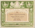 Royal Musical Festival. Embossed Ticket to the First Concert, 24 June 1834.
