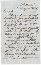 Autograph letter dated 26 January 1853 from Sir George Smart to Mr [Joseph] Surman.