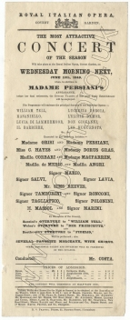 Flyer for a concert at the Royal Italian Opera, Covent Garden on 13th June 1849.