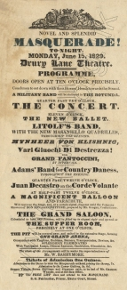 Flyer for a masquerade at the Theatre Royal, Drury Lane, 15 June 1829, featuring Martin Litolff's Quadrille Band.
