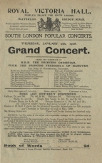 Programme for a concert in the South London Popular Concert series mounted by Emma Cons, 9 January 1908.