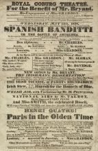 Playbill for a benefit performance at the Royal Coburg Theatre on 14 May 1828. Mr Bryant, comic actor, singer, playwright and composer had been in the company from the opening. The programme, comprising two English operas separated by miscellaneous items was typical of the regular repertoire.