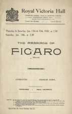 Programme for the important production of The Marriage of Figaro, 15 January 1920. The baritone Clive Carey produced and sang the role of Figaro.  The translation was the first of many made for Miss Baylis by Edward J. Dent.