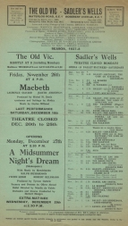 Advertising leaflet for performances at The Old Vic and Sadler's Wells, Season 1937-8.
